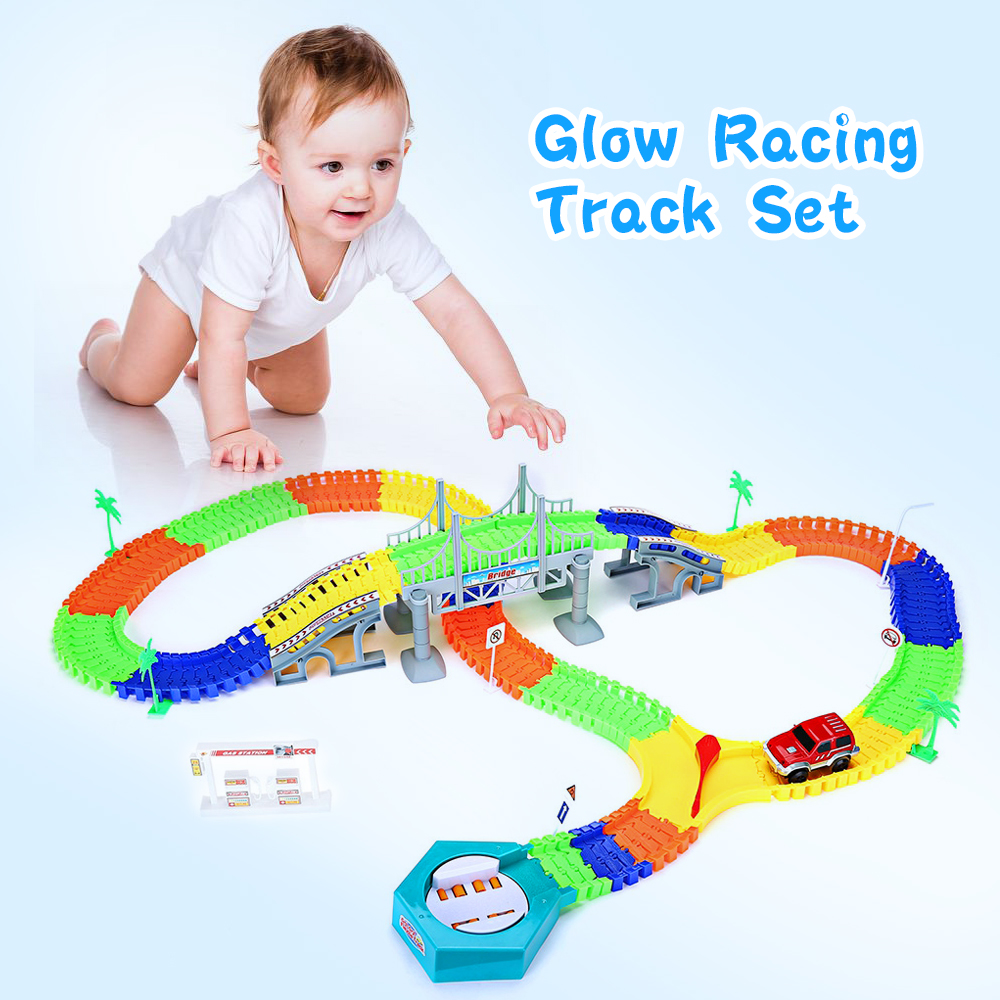 Hot Sale 192pcs Glow Racing Track Set + 1pcs Car Flex Flash Assembly Twister Car For Children Gift Track Car Toy Race Track  280pcs miraculous race track bend flex car toy racing track set diy track electric rail car model set gift for kids
