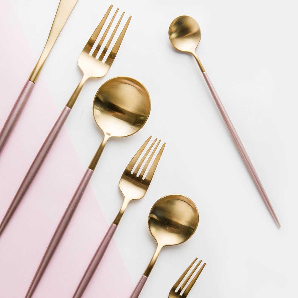 เกาหลี Royal Pink Golden ชุดช้อนส้อมมีด S poon ชุดส้อมสแตนเลส 18/8 Western อาหารเย็น Set1pc