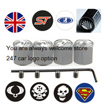 Anti-theft Stainless Steel Black 4PCS Car Wheel Tire Valves Tyre Stem Air Caps Airtight Cover for Skull head superman ST