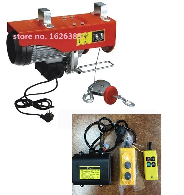500-1000KG 20M, 220V, 50Hz,1-phase Wireless remote mini electric wire rope hoist, PA mini hoist, crane equipment, lifting tool