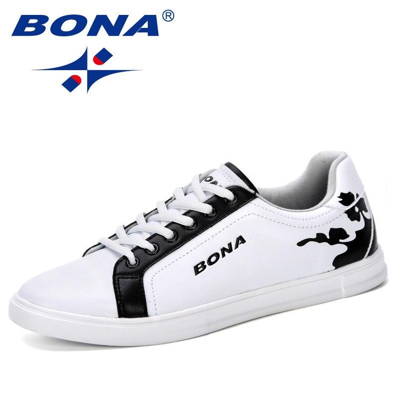 BONA 2019 New Designer Shoes For Men Fashion Men Casual Shoes High Top Vulcanized Men Sneakers Trendy Boys Walking Shoes Flats