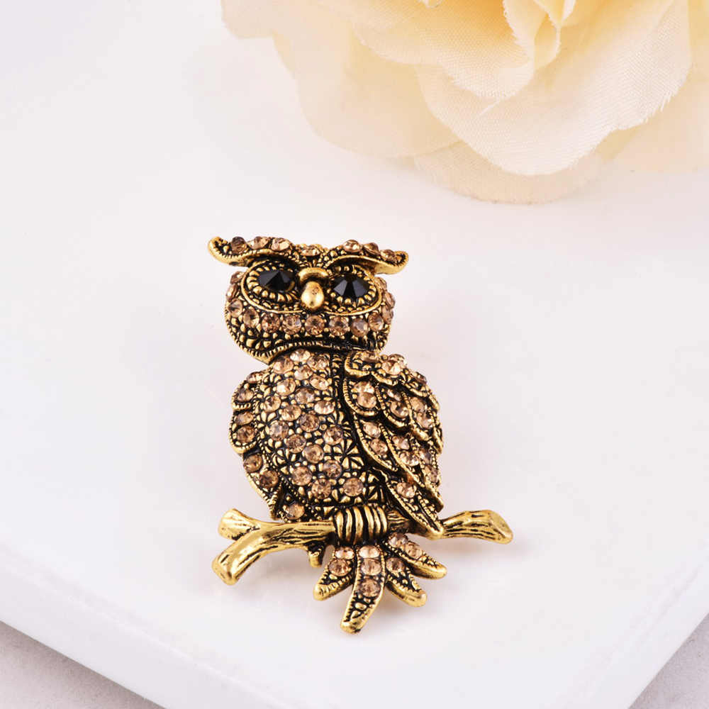 ef0d4c63134 ... Wholesale Price Owl Shape Jewelry Clothes Brooches Pins for Women  Statement Vintage Gold Color Crystal Paved ...