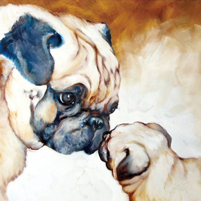 freeshipping handpainted abstract adorable dog mother and baby wall