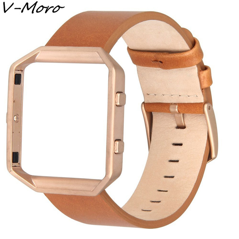 V-MORO Genuine Leather For Fitbit Blaze Band +Metal Frame 2 in 1 Watch Wrsit Watch Strap for Fitbit Blaze Straps Accessory Band lord foresta umbra moro 50x50