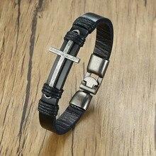 Man Cross Leather Bracelet Ancient Silver Sideways Faith Christian Jewelry Mens Pulseira Masculina