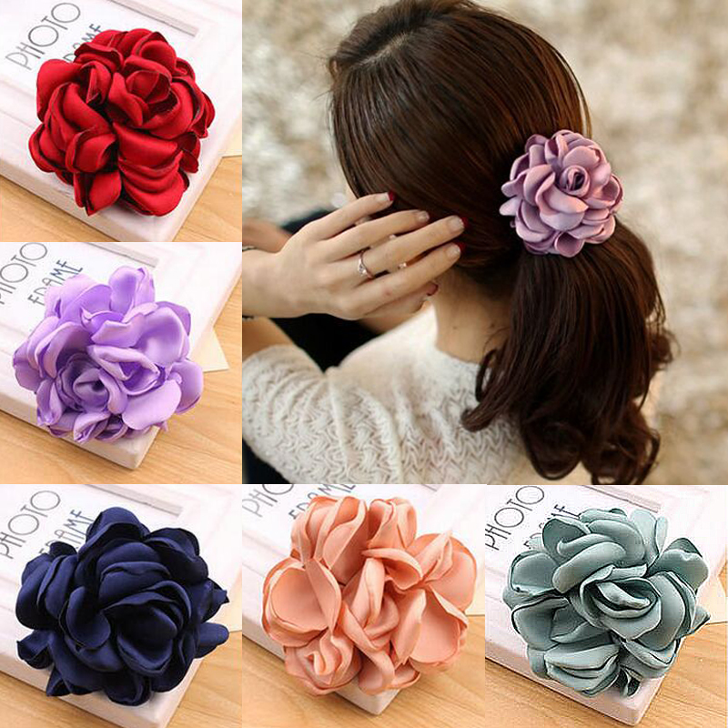 2017 Big Rose Bunga Elastics Hair Holders Band Getah Perempuan Wanita Kawaii Cute Tie Gum Fabric Hot Sale Headwear Accessories