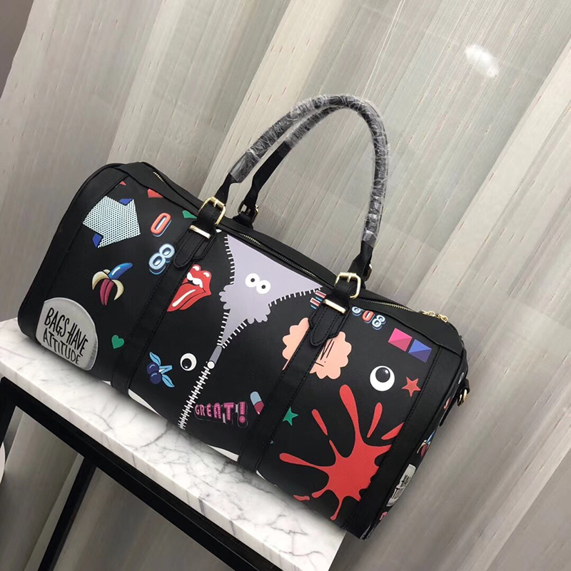 핑크 sugao 럭셔리 핸드백 여성 가방 디자이너 여행 가방 2019 새로운 패션 대용량 더플 백 만화 귀여운 여행 가방-에서여행 가방부터 수화물 & 가방 의  그룹 1