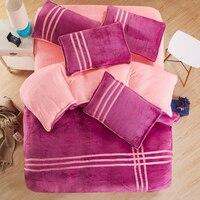 2017 Stripe Thicken Flannel Warm Bed Quilt Textile Quilts Four Piece Bedding Duvet Cover King Size