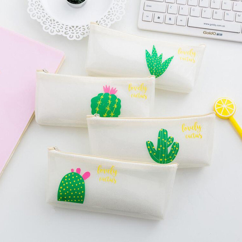 M136 Cute Women Purses Creative Transparent PU Green Cactus Coin Purse Wallet Card Pen Bag Student Gift Wholesale m215 cute cartoon pets akita dog siberian husky personality plush coin purse wallet girl women student gift wholesale
