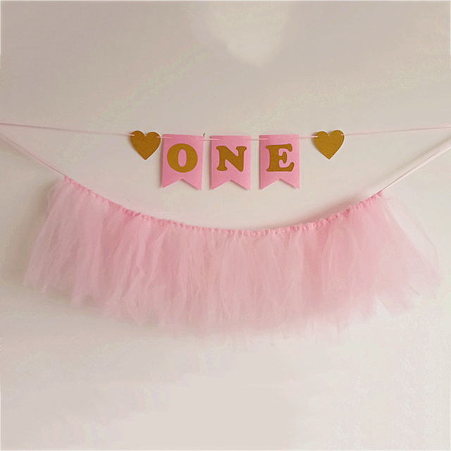 pink tutu tulle table skirt gold banners set fishtail bunting bb010