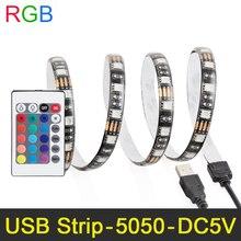 DC5V USB Highlight LED strip 5050 RGB flexible light IP65 TV Background Lighting Strip with controller 50CM LED Flexible Light