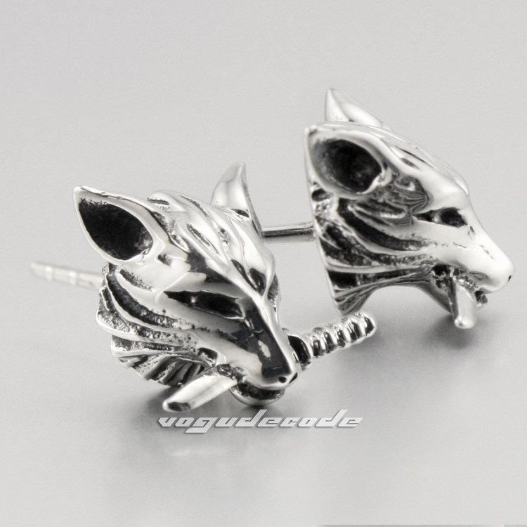 Cool Wolf 316l Stainless Steel Mens Stud Earrings G003 2 Pieces In From Jewelry Accessories On Aliexpress Alibaba Group