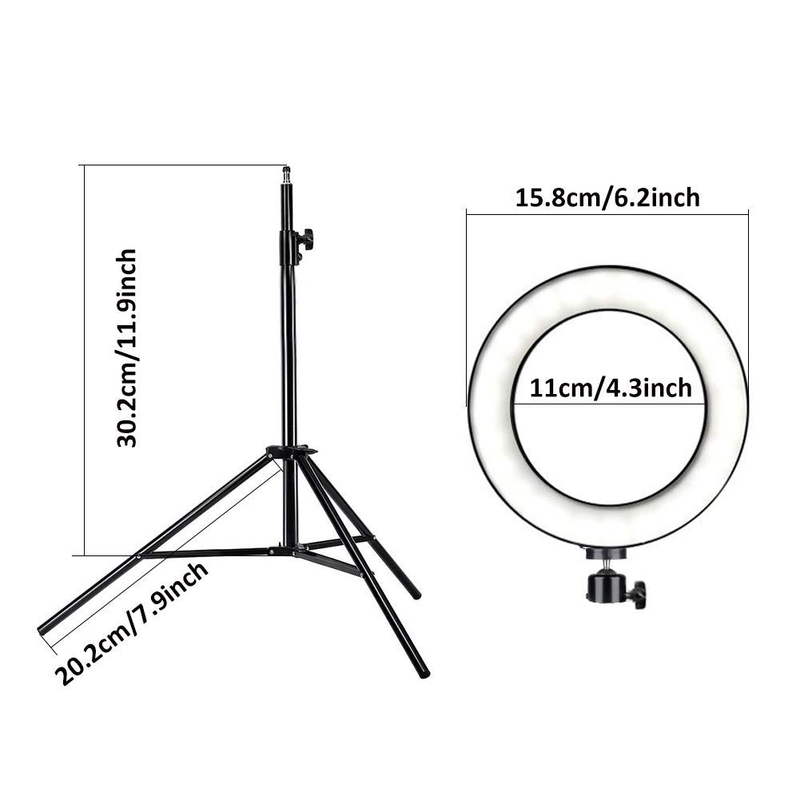 LED Light 16cm 64 LEDs Selfie Ring Lamp For Photographic Lighting with Tripod Mobile Phone 8