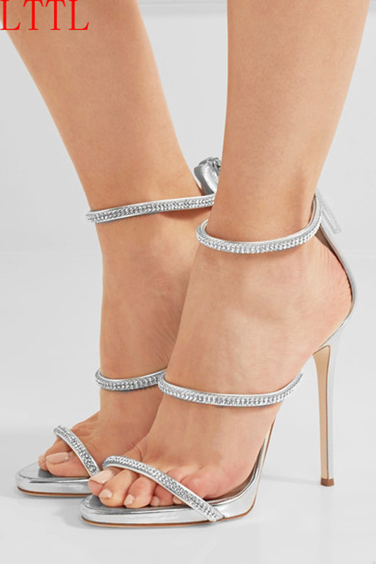 ФОТО 2017 Concise Elegant High Heels Sandals Women Crystal Ankle Strap Summer Party Shoes Woman Open Toe Zipper Sandals Women Shoes