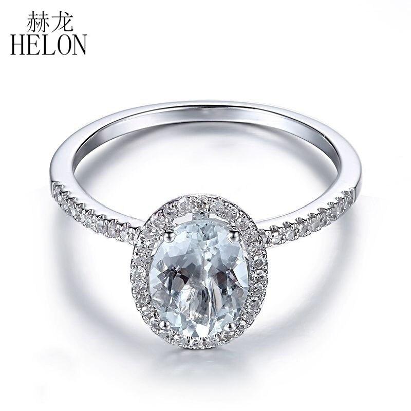 HELON 8X6mm Oval Solid 10K White Gold Pave Natural Diamonds Women Aquamarine Fine Ring Women's Engagement Wedding Gemstone Ring