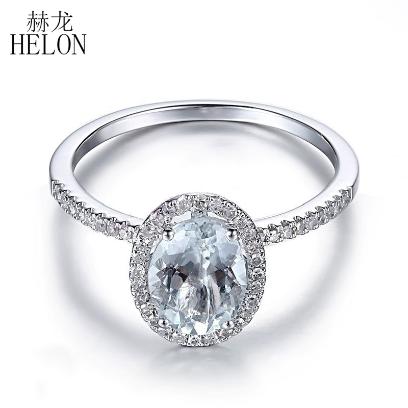 HELON 8X6mm Oval Solid 10K White Gold Pave Natural Diamonds Women Aquamarine Fine Ring Womens Engagement Wedding Gemstone Ring