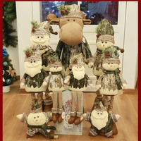Large Size Vintage Christmas Stretchable Santa Claus Snowman Reindeer Telescopic Doll Decoration Tree Hanging Ornament