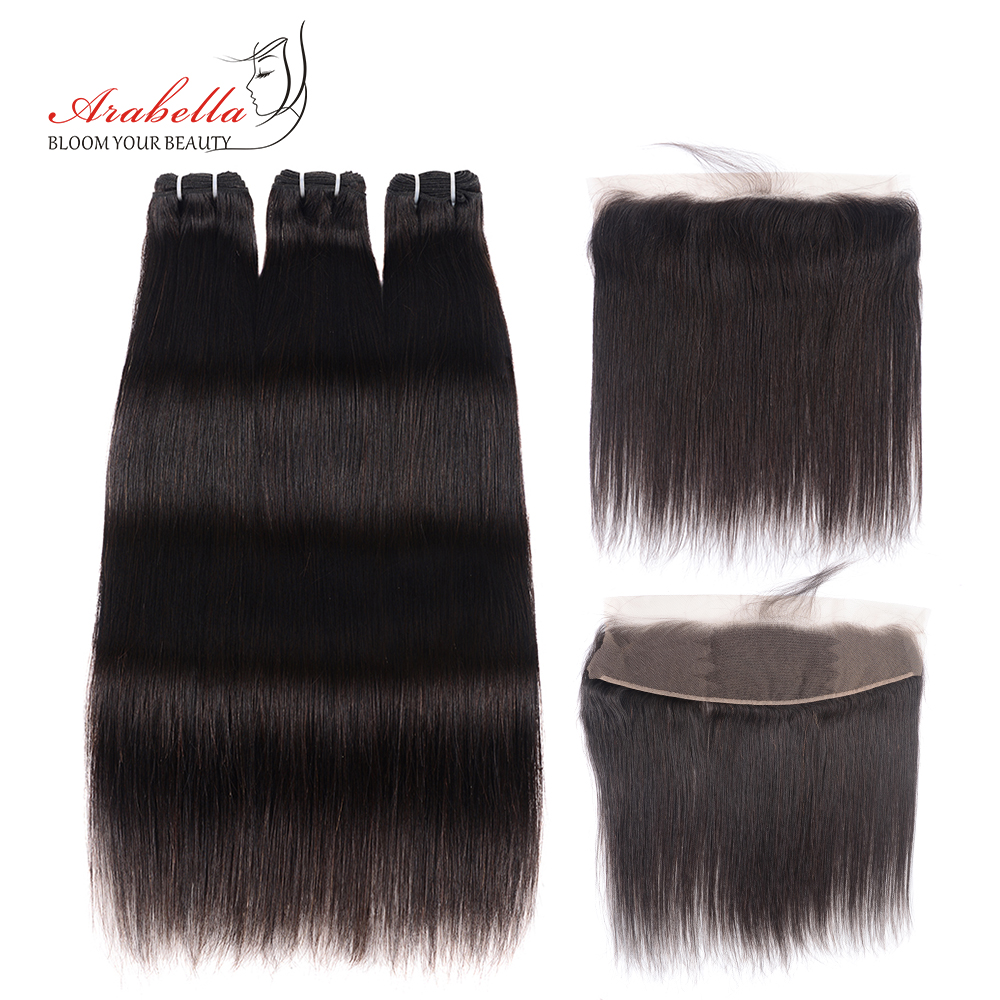 Brazilian Straight Human Hair Bundles With Lace Frontal Arabella Pre Plucked 100 Remy Human Hair Extension