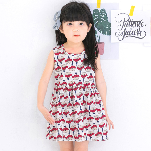 c7babbb9a4d 2017 New Summer Cute Dresses Kids Children Girls Tulip Print Soft Casual  Sundress Outfit For Girls 2 to 9 Year Old