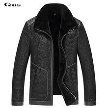 Gours Kış Hakiki Deri Ceketler Erkekler için Siyah Koyun Pilot Ceket ve Mont Sıcak Çift yüzlü Uçuş Takım Elbise 2016 yeni 4XL