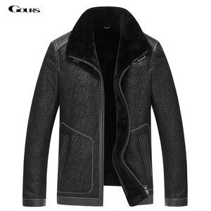 Image 1 - Gours Winter Echtem Leder Jacken für Männer Schwarz Schaffell Pilot Jacke und Mäntel Warme Doppel konfrontiert Flug Anzug Neue 4XL