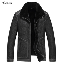 Gours Winter Genuine Leather Jackets for Men Black Sheepskin Pilot Jacket and Coats Warm Double-faced Flight Suit 2016 New 4XL
