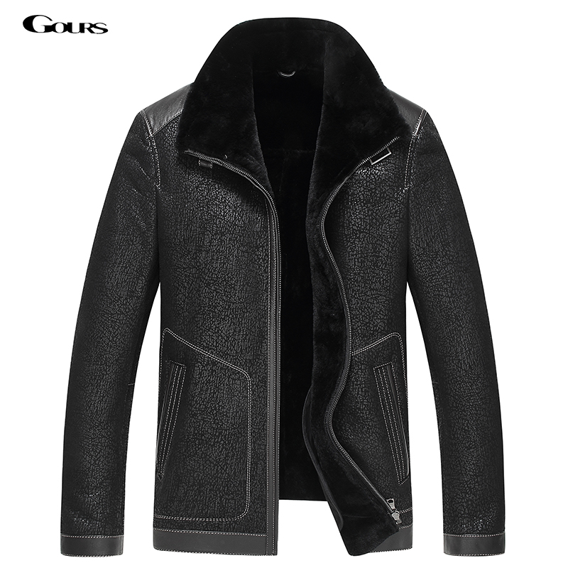 Gours Winter Genuine Leather Jackets for Men Black Sheepskin Pilot Jacket and Coats Warm Double-faced Flight Suit 2018 New 4XL