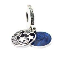 Granos adapta pandora charms pulseras de perlas para la joyería de la vendimia noche brillante cielo azul medianoche esmalte claro cz cuentas