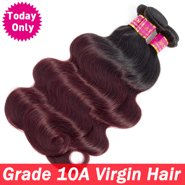 Today Only 1 3 4 Bundles Burgundy Brazilian Body Wave Bundles