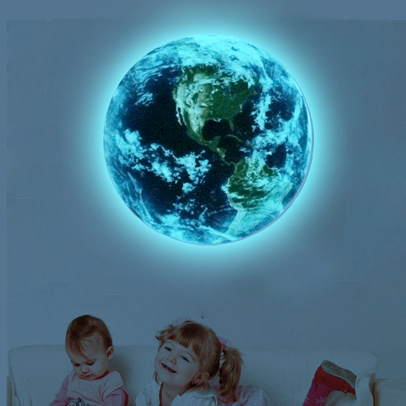Customized big Blue light earth 1PCS new Cartoon DIY 3d Wall Stickers for kids rooms bedroom