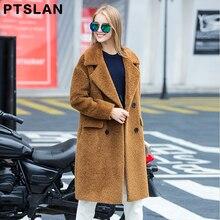Ptslan Women Coat New Lambs Wool Coats Korean Fashion Long Sheared Fur Coat High Quality Winter Clothes Shearing Coat With Pocke