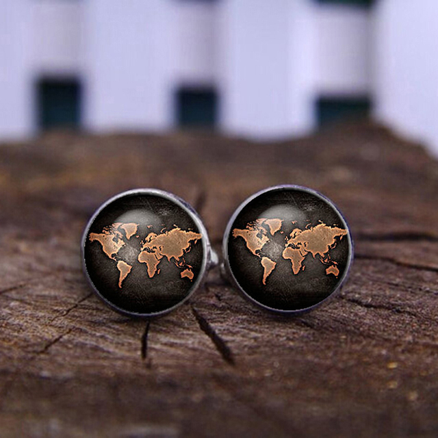 Silver Plated Antique World Map Vintage Cufflinks