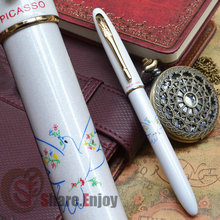 PICASSO 606 ELEGANT WHITE AND GOLDEN DOVE OF PEACE ROLLER BALL PEN