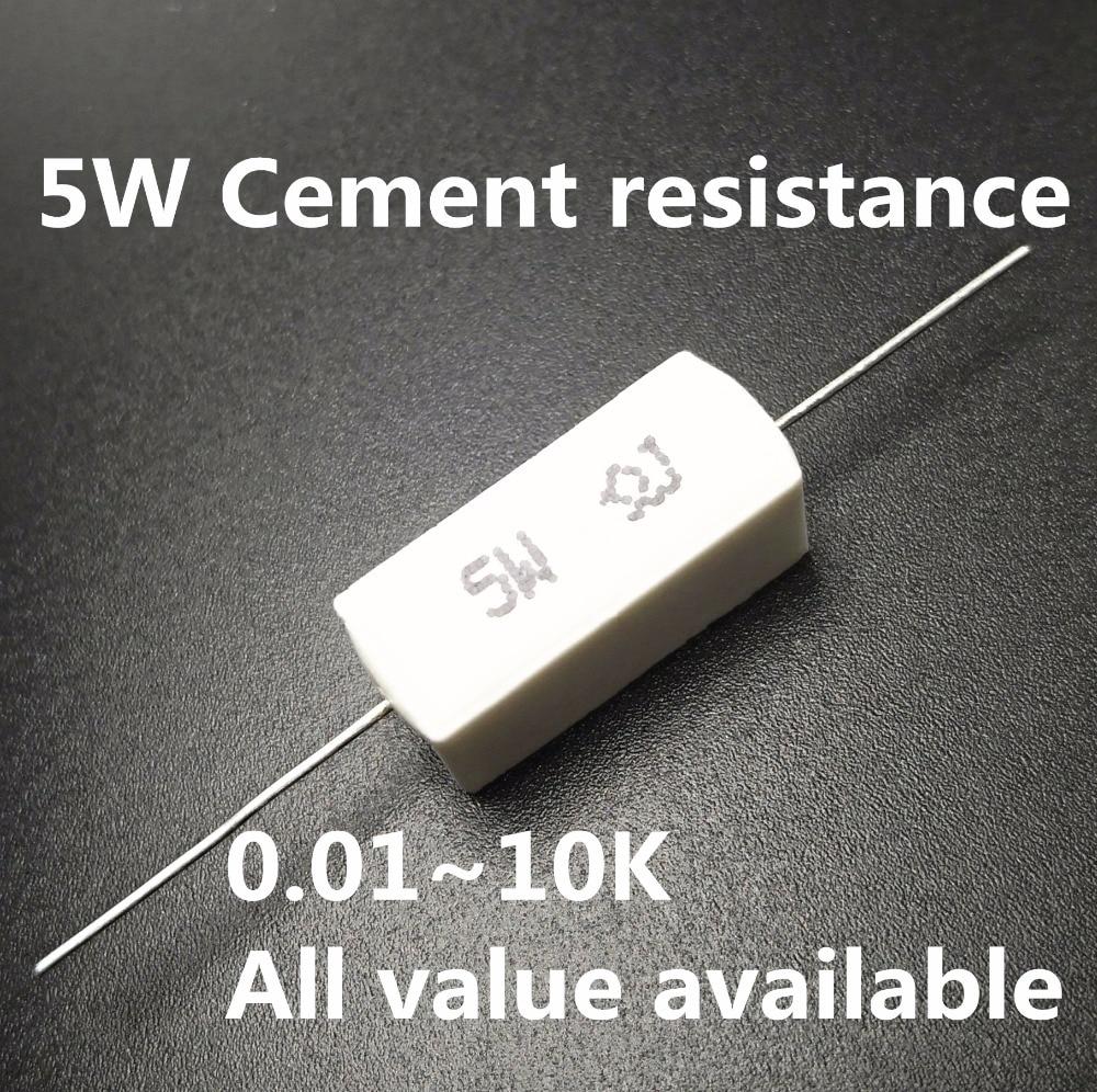 5pcs 5W 1.5 2 2.2 3.3 4.7 5 5.1 5.6 6 Ohm 1.5R 2R 2.2R 3.3R 4.7R 5R 5.1R 5.6R 6R Ceramic Cement Power Resistance Resistor 5%