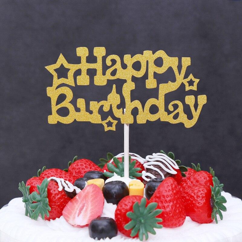 Aliexpress.com : Buy Glitter Happy Birthday Flag Cake Topper Party Favors Sticker Decor Banner