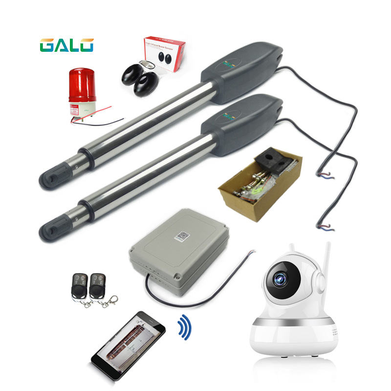 With wifi camera kit Optional Doulbe Arm Heavy Duty Worm Gear Automatic Swing gate motor / Swing Gate Opener heavy duty 1800kg automatic sliding gate motor for gate drive with infrared sensor alarm lamp and loop detector