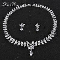 Leo Bon 2016 Beyaz Gümüş Plaka AAA + Kübik Zirkonya Taş Küpe ve Kolye Düğün Gelin Takı Setleri için