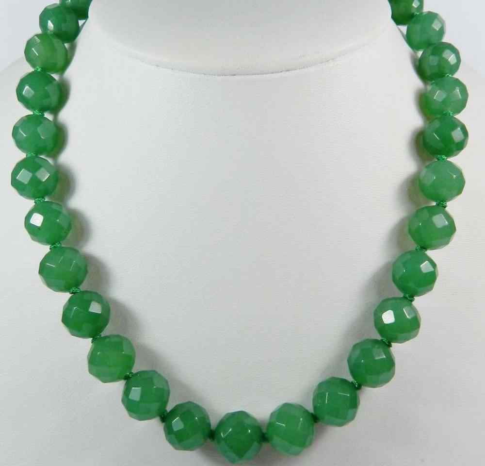 "Stunning! 10mm Green Emerald Facet Ronde Kralen Ketting 18 ""20"" 22 ""25"" 30 "". WW"