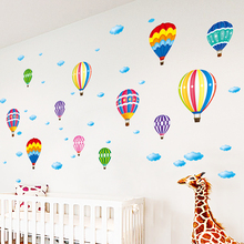Colorful Hot Air Balloon Wall Stickers DIY Cartoon Wall Decals for Kids Rooms Living Room Shop Glass Decoration