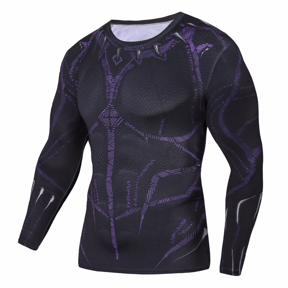Raglan Sleeve Black Panther 3D Printed T shirts Men Compression Shirts 2018 NEW Crossfit Tops For Male Cosplay Costume Clothing