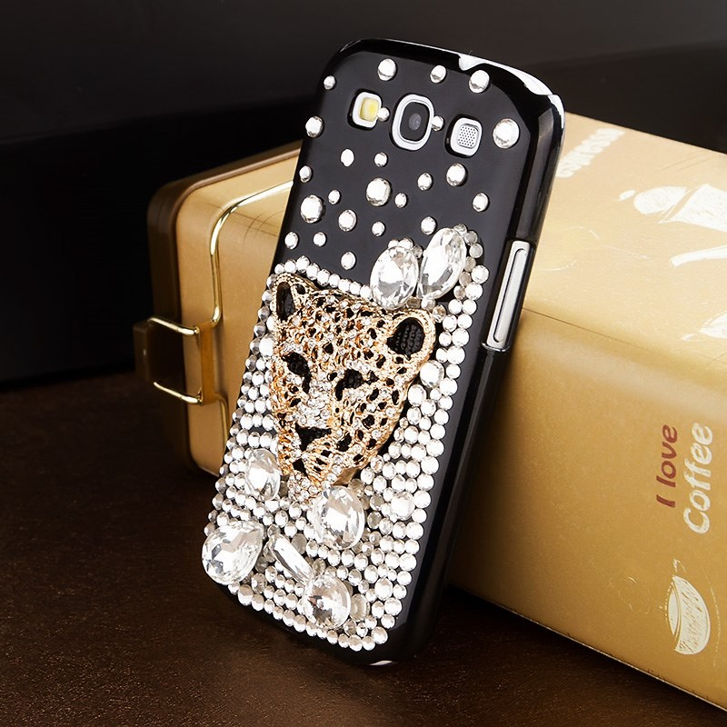 SGP black leopard head rhinestone mobile phone case for Samsung Galaxy S3 I9300