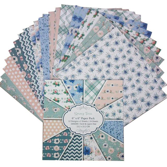 24 Sheets SPRING TIME Scrapbooking Pads Paper Origami Art Background Paper Card Making DIY Paper Craft 6 Inch Single-Sided