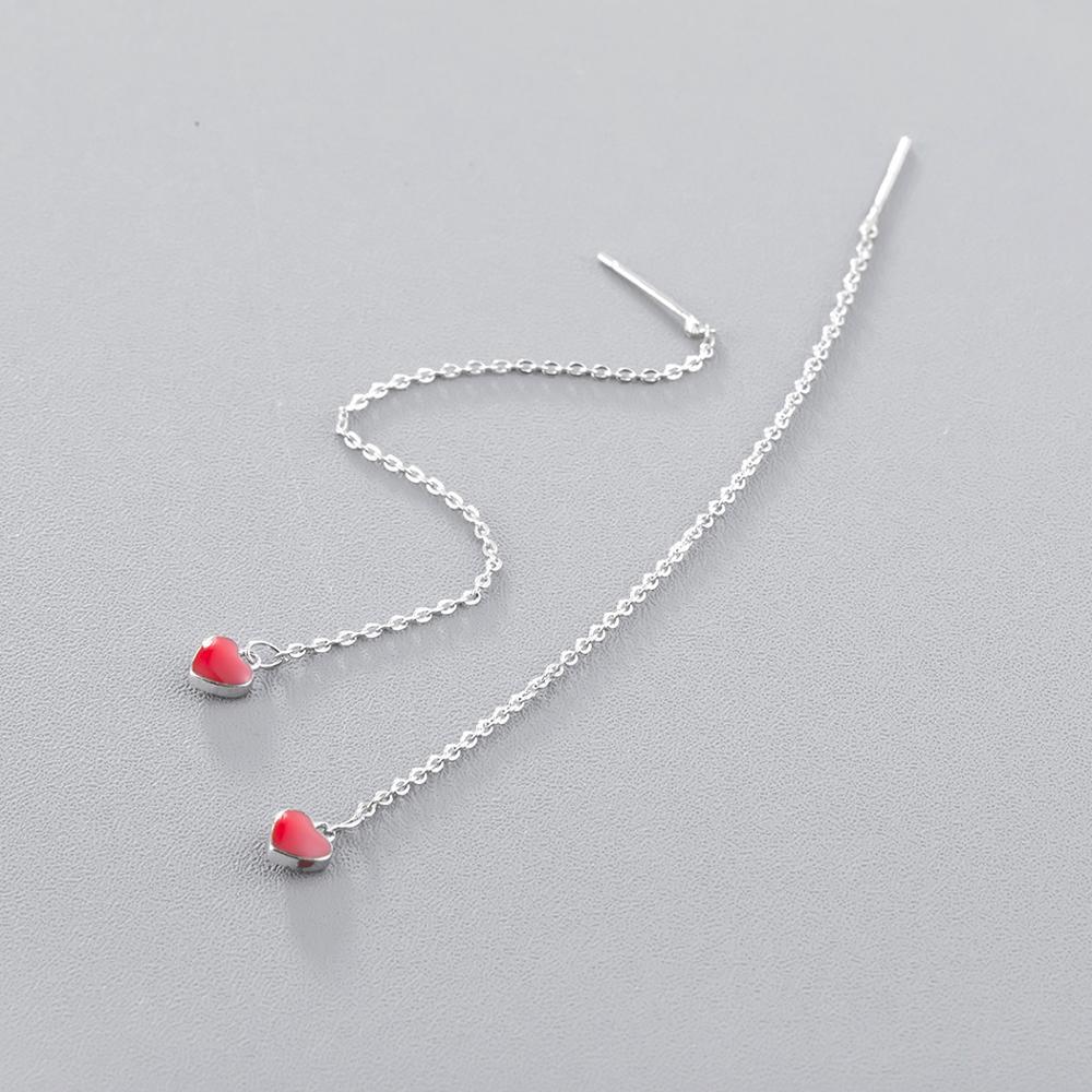 Cxwind Fashion Enamel Red Heart Pendant Earrings for Women Girls Tassel Long Chain Luxury Earring Jewelry Party Gift oorbellen