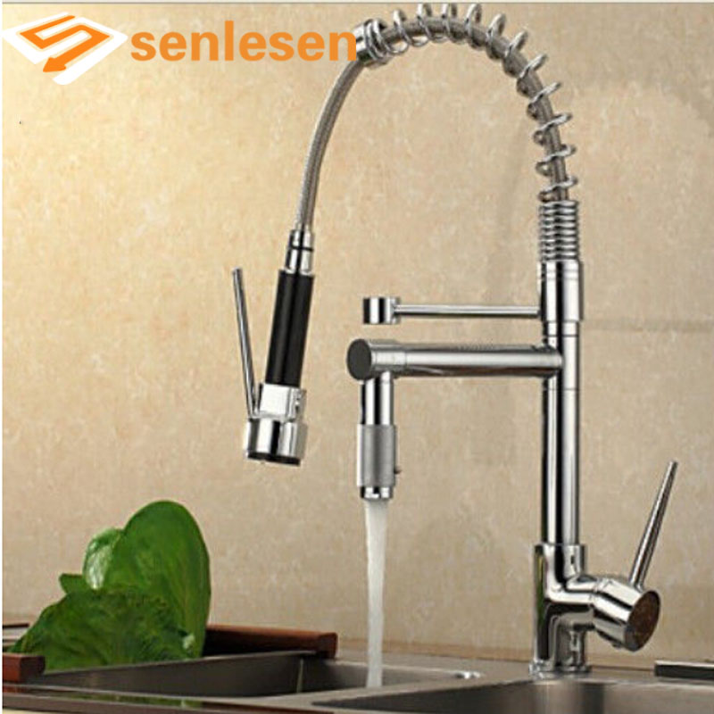 Wholesale And Retail Promotion Luxury Chrome Brass Spring Kitchen Faucet Single Handle Hole Vessel Sink Mixer Tap wholesale and retail luxury chrome brass kitchen faucet swivel spout vessel sink mixer tap single handle hole deck mounted