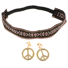 Hippie Headband with Gold Peace Sign Dangle Earrings for 60s 70s Women Girls Costume Props