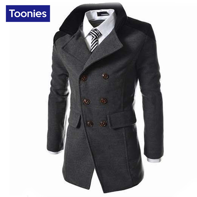 2017 Autumn Sobretudo Masculinos Preto Cool Mens Coats Overcoats Double Breasted Men Wool Coat Business Casual Trench Coat Men