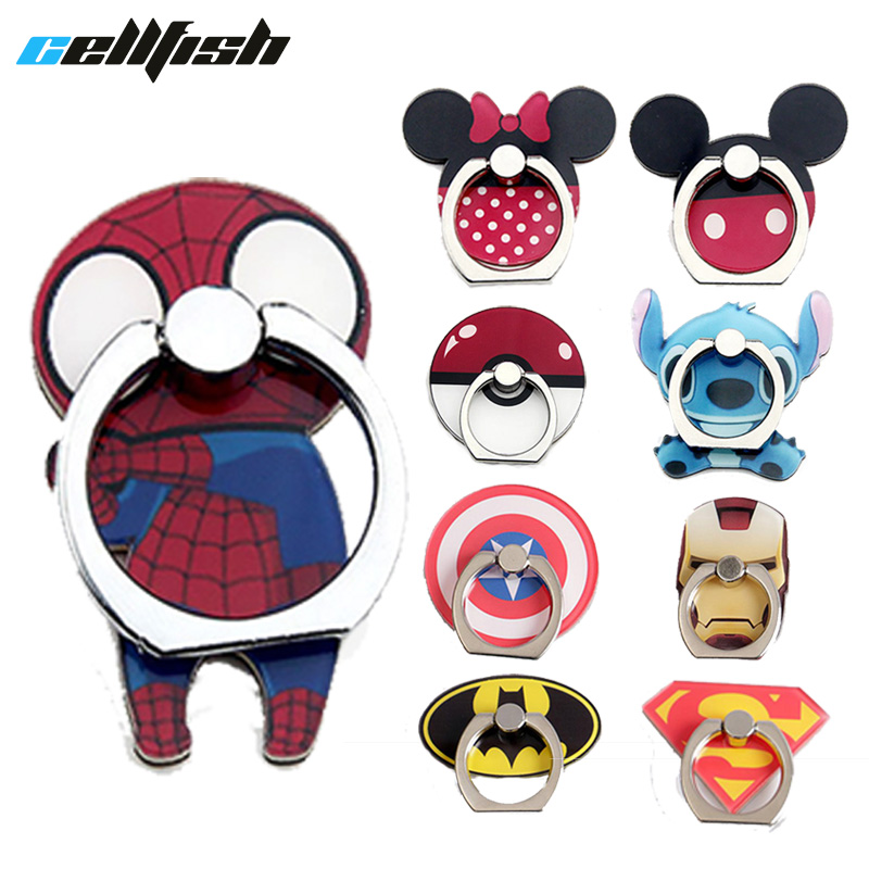 Mobile Phone Holder For IPhone Cell Phone Stand Socket Batman Mickey Minnie Stitch Car Mount 360 Kickstand For IPad Table Holder