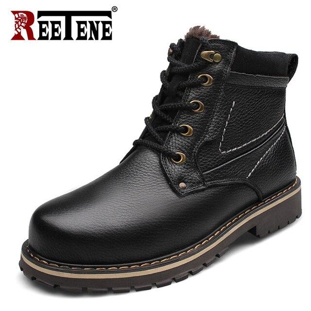 REETENE Warmest Snow Boots Men Natural Leather Fur Winter Boots Genuine Leather Men Plush Winter Shoes Winter Men'S Boots 38-50