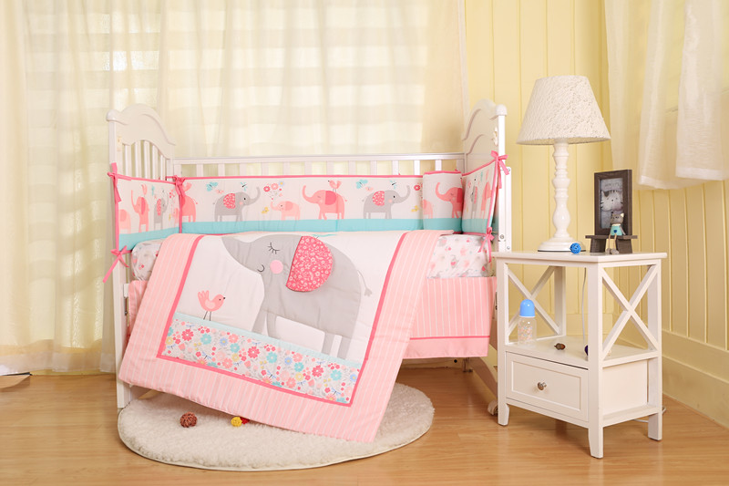 7pcs pink elephant Embroidery Bedding Baby Cot Bedding Set Sweet Baby Nursery Bedding ,(4bumper+bed cover+bed skirt+duvet)7pcs pink elephant Embroidery Bedding Baby Cot Bedding Set Sweet Baby Nursery Bedding ,(4bumper+bed cover+bed skirt+duvet)