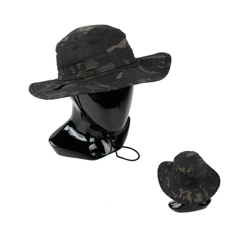Multicam Black Mens Tactical Bucket Hat with wide brimmed edge MCBK army Round-brimmed Sun Boonies hat Outdoor Camo bucket hat